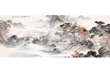李佩錦最新力作國畫仿古山水畫《溪山雅集》