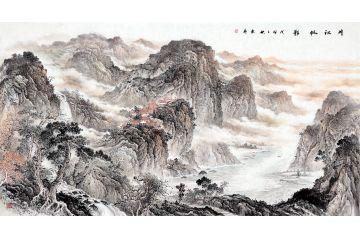 中美協畫家趙洪霞新品六尺橫幅國畫《川江帆影》