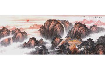 五岳獨尊大靠山 王寧六尺山水畫作品《旭日東升》