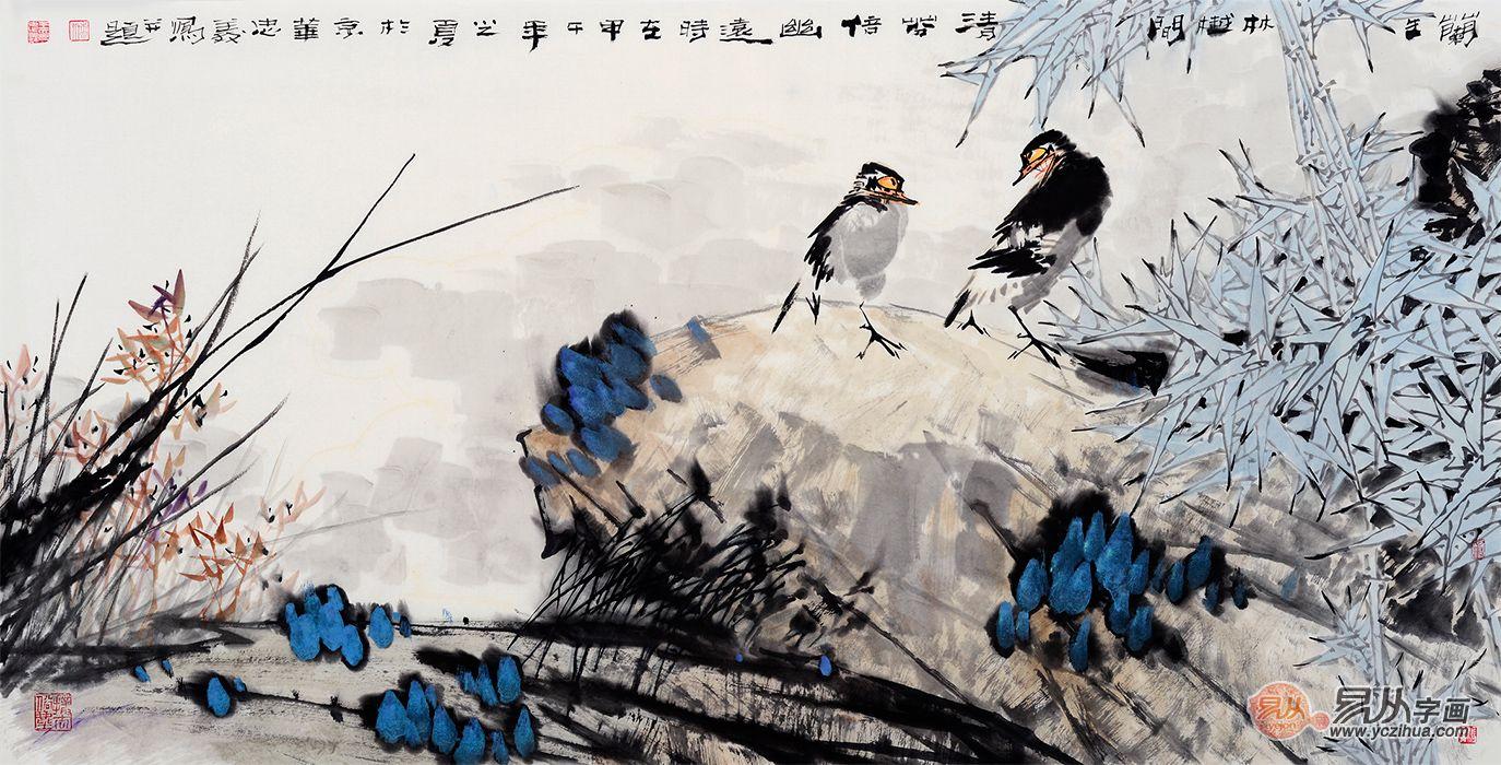中美協畫家王忠義寫意花鳥畫《蘭生林樾間》
