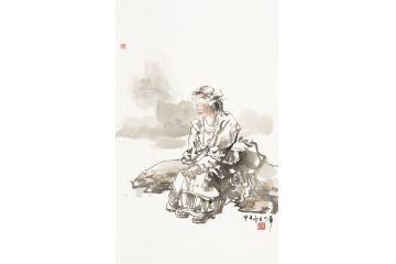 中美協會員覃日群國畫人物《數佛珠的藏族小女孩》