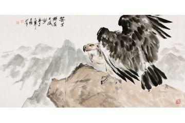 國畫鷹 王文強寫意動物畫《蒼茫群嶺天風勁》