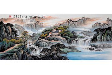 蔣偉新品創作八尺橫幅風水寶地《青山泉韻圖》