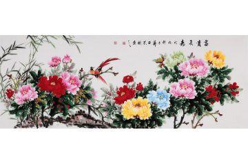 客廳裝飾畫 石榮祿新品牡丹圖《富貴長壽》