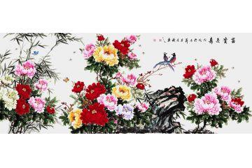 國畫牡丹圖 石榮祿八尺橫幅寫意牡丹《富貴長壽》