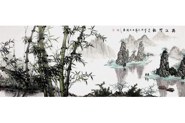 竹子风景画 石荣禄新品力作山水画《漓江竹韵》