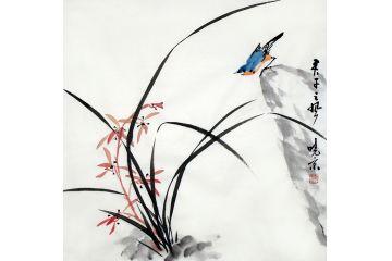 精品寫意畫 實力派畫家鄭曉京《彩蘭雀》之二