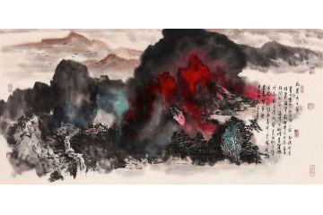 國畫大師張若古典藏潑彩山水畫《紅云齊天圖》