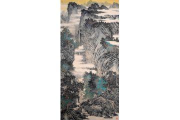 精品國畫收藏 林德坤四尺豎幅山水畫《峰高泉聲遠》
