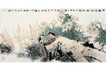 中美協會員王忠義四尺橫幅花鳥畫《百年好合到白頭》