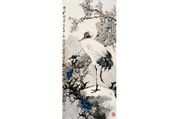 中美協會員王忠義四尺豎幅梅花仙鶴圖《梅清賀壽》