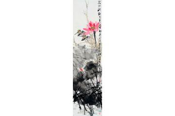 中美協畫家王忠義寫意荷花圖《夏塘清趣》