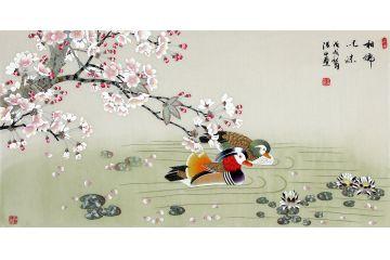國家一級美術師張洪山新品鴛鴦圖《相濡以沫》