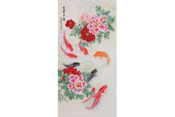 畫家羽墨新品工筆牡丹九魚圖《富貴有余》