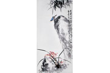 鄭曉京老師最新三尺豎幅寫意國畫《澗蘭》