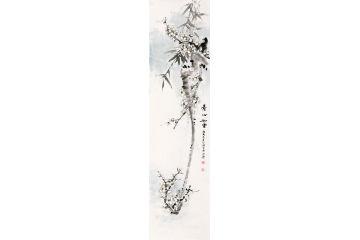 丁珂老師最新四尺豎幅寫意梅花圖作品《素心如雪》