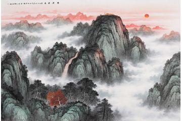 五岳泰山圖 王寧最新力作國畫泰山新品《紫氣東來》