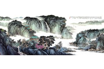許吉爾原創八尺橫幅國畫山水畫作品《福居圖》