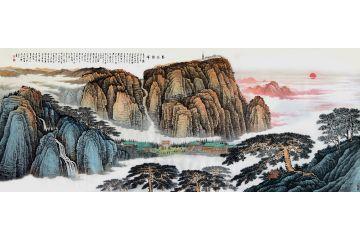 五岳靠山國畫 許吉爾最新創作山水畫《泰岱朝暉》