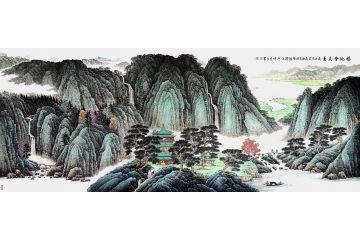許吉爾最新力作國畫山水畫作品《福地會友圖》