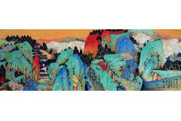 許吉爾最新創作工筆重彩國畫《紅葉似火》