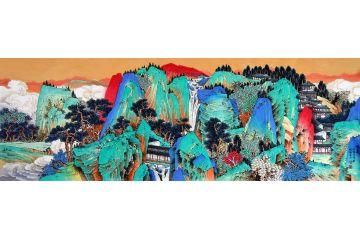 工筆重彩國畫 許吉爾新品創作山水畫作品《鴻運》