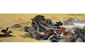 仿古山水畫 許吉爾最新力作國畫作品《秋山雅韻》
