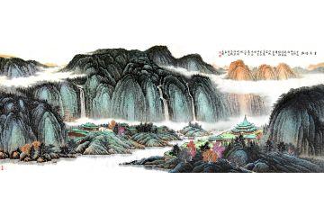許吉爾最新力作八尺橫幅國畫山水畫《云泉隱幽》