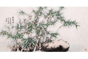 趙俊貞四尺橫幅竹子畫《石竹圖》