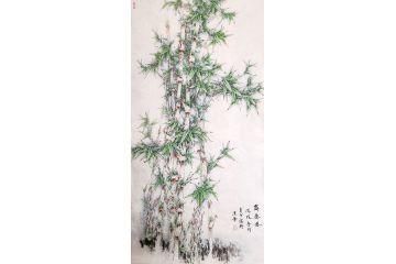 趙俊貞四尺豎幅竹子畫《舞春風》