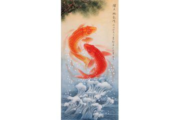 蕭紅最新構圖四尺豎幅花鳥畫《鯉魚跳龍門》