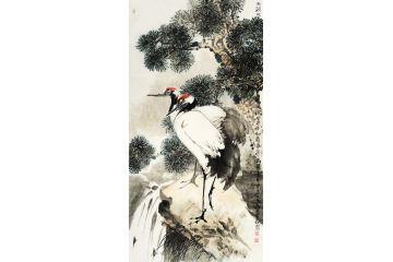 中美協畫家王忠義新品寫意松鶴圖《雨濕松蔭涼》