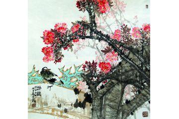中美協畫家王忠義新品斗方花鳥畫《春濃》