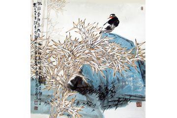 中美協畫家王忠義新品寫花鳥畫《嫩綠卷新葉》