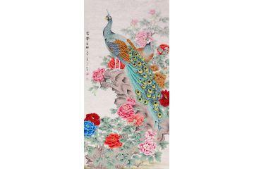 孔雀牡丹圖 王一容四尺豎幅花鳥畫《富貴呈祥》