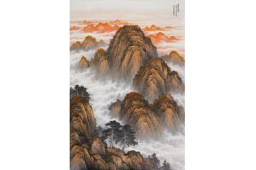 王寧最新手繪真跡創作泰山國畫作品《鴻運當頭》