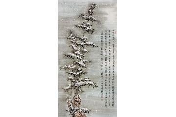 國畫竹子 李傳波新品雪竹《送夏侯校書歸華陰別墅》