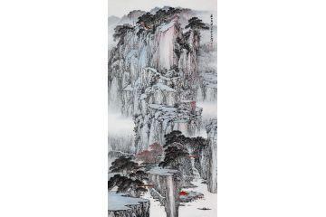 林德坤老師新品四尺豎幅原創真跡《春山晨染》