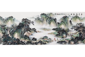 張利最新創作國畫仿古山水精品《春色滿乾坤》