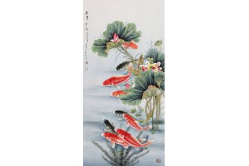 荷花鯉魚圖 王一容工筆畫九魚圖《連年有余》