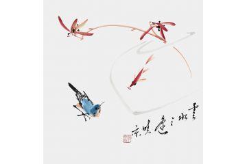 鄭曉京老師斗方寫意花鳥畫作品《云水之謠》
