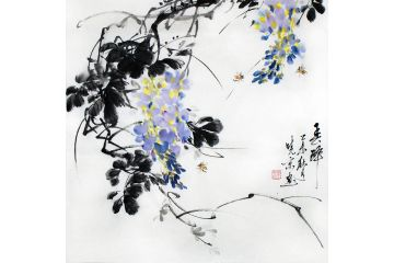 鄭曉京老師斗方寫意國畫《紫藤》