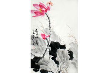 精品荷花圖 鄭曉京寫意國畫作品《荷風醉舞》