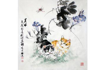 貓趣圖 鄭曉京雙貓牽?;ㄗ髌贰冻匡L》