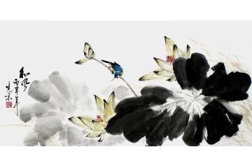 精品荷花圖 畫家鄭曉京三尺橫幅《和風白荷藍雀》