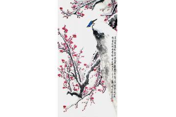 寫意梅花圖 鄭曉京老師四尺豎幅梅花作品《冰雪紅梅》