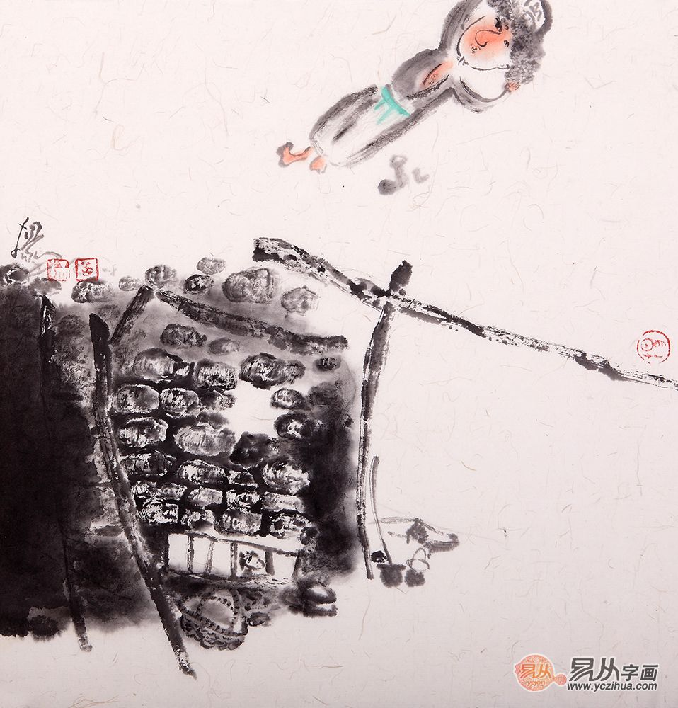 赏扬笛水墨人物画《情3》,品其画作里人物的精气神