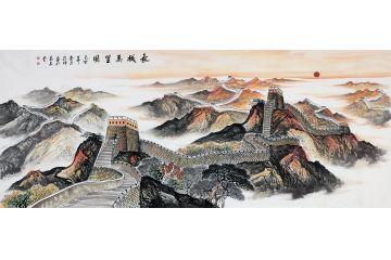 長城雄風 畫家蔣偉新品萬里長城國畫《長城萬里圖》