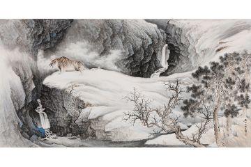 祈福鎮宅 王寧最新創作山水畫《虎嘯山河》
