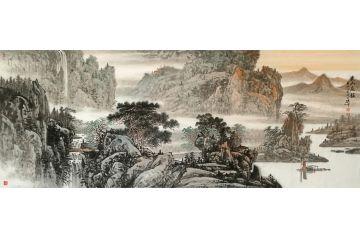 林德坤新品创作写意国画山水画《溪山晨韵》